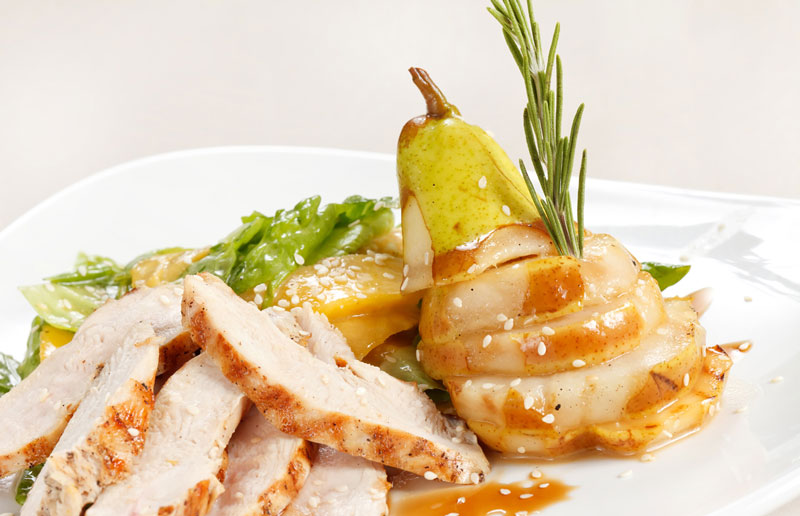 chicken and pear